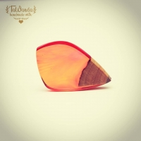 """Next part of """"Leaves"""" collection - pendant in pink/orange colour with small part of walnut wood.  #tawandapl #tawandajewelry #resinandwood #pendant  #artresin #handmadejewelry #gervee #handmade #resinjewelry #resinjewellery #resinart"""